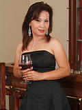 Elegant and ethnic Maya slips out of her dress after a little wine